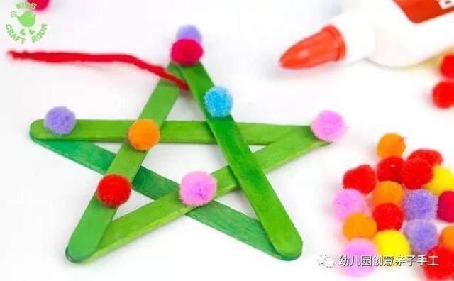 幼儿园亲子手工之废物利用 冰棍棒的工艺小制作