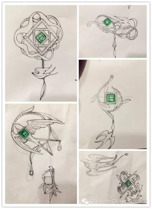 green plume翠羽两用胸针部分设计手稿 不过,这场定制考验还远没有