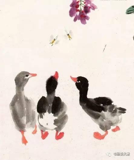 把娄师白画的小鸭放大看看 越看越可爱