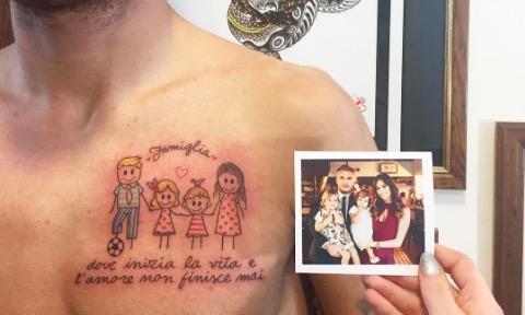 爱家庭的好男人,因莫比莱展示新纹身