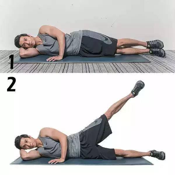 仰卧位拱桥式背伸肌锻炼   包括三点式、五点式:病人仰卧于床上,双