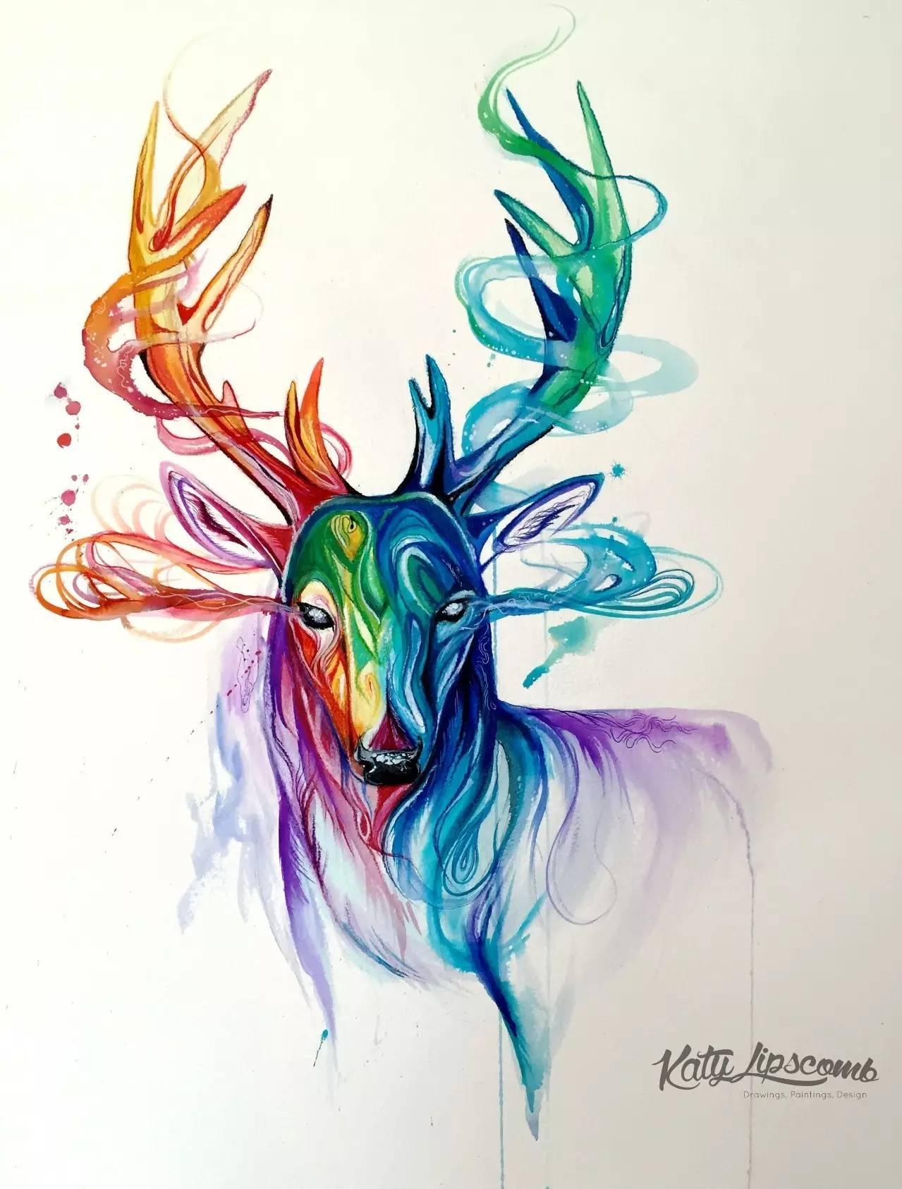 《153张创意动物水彩彩铅手绘插画素材》