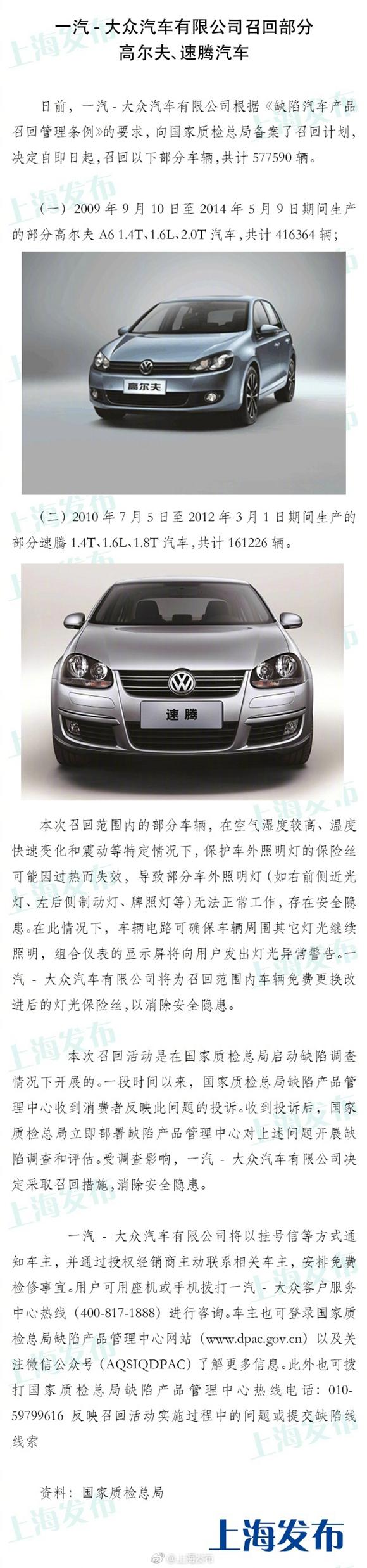 一汽-大众汽车有限公司召回577590辆高尔夫、速腾汽车(图)