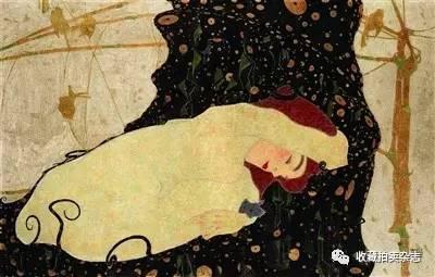 克林姆特《达娜厄》 对比师徒两人的《达娜厄》,不难发现,席勒在画中图片