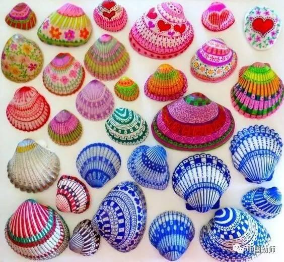 彩绘贝壳,考研小朋友的小手操作能力与图形配色创意图片