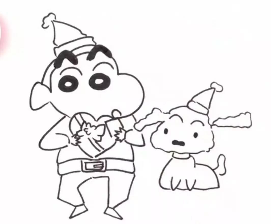 动漫绘画馆-蜡笔小新和小白送圣诞礼物