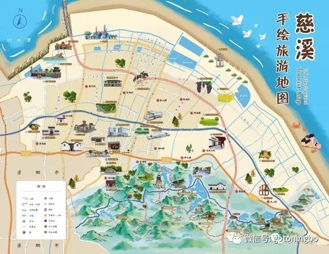 这份手绘地图带你游遍慈溪!宁波市区的领取地是
