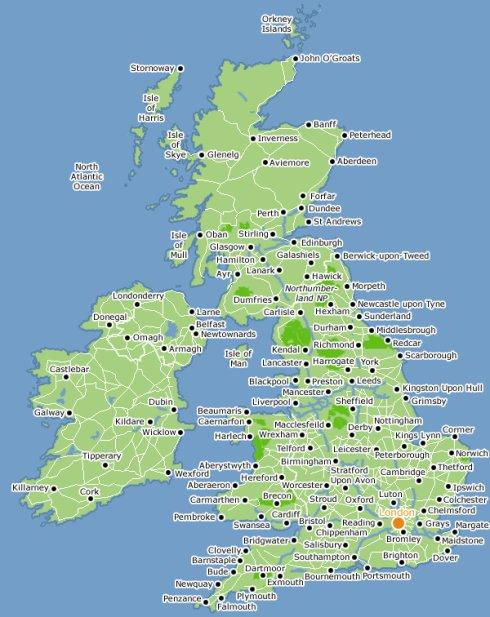 它由北部的苏格兰,南部及中部的英格兰和西南部的威尔士三个地区组成.图片