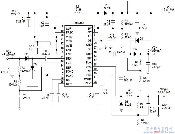 vdd是数字电路的工作电压一般为3.3v.还有vcom等电压.图片