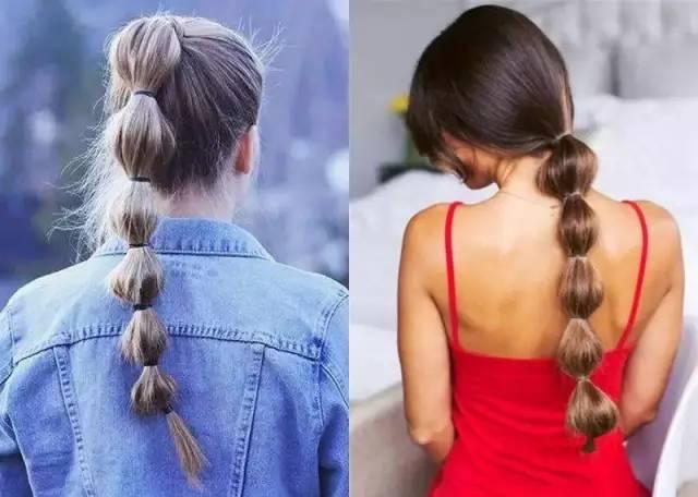 形状很像糖葫芦和葡萄串,这款发型因此名为:糖葫芦马尾or葡萄串马尾.图片