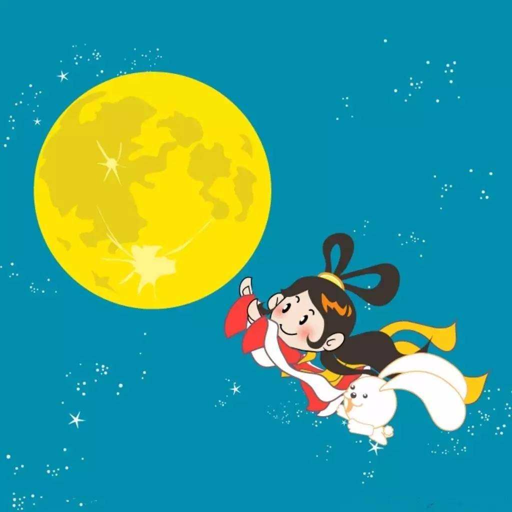卡通嫦娥 玉兔 月亮图片素材,中秋节嫦娥奔月矢量图
