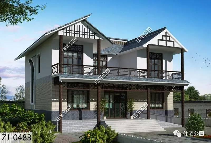 1厨 2储藏室 1檐廊 2阳台 2露台 黛瓦白墙,木质的窗棂围栏立柱,中式图片