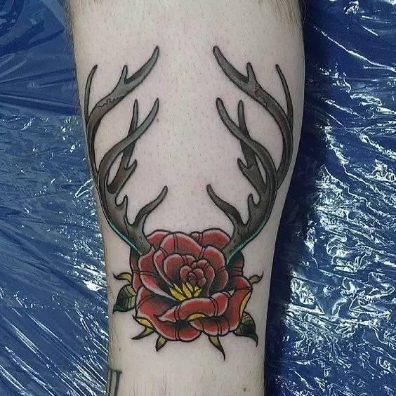 纹身素材:小清新 鹿角