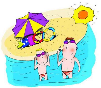 手绘游泳卡通图片