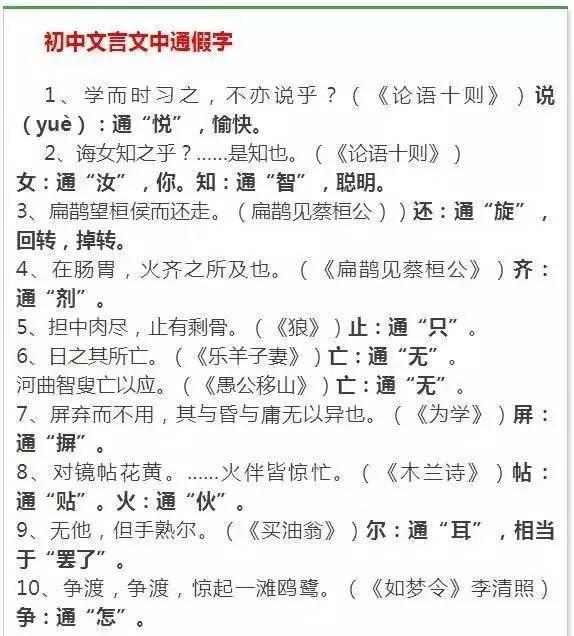 """初中语文16册文言文知识点归纳,一篇全部搞定"""""""