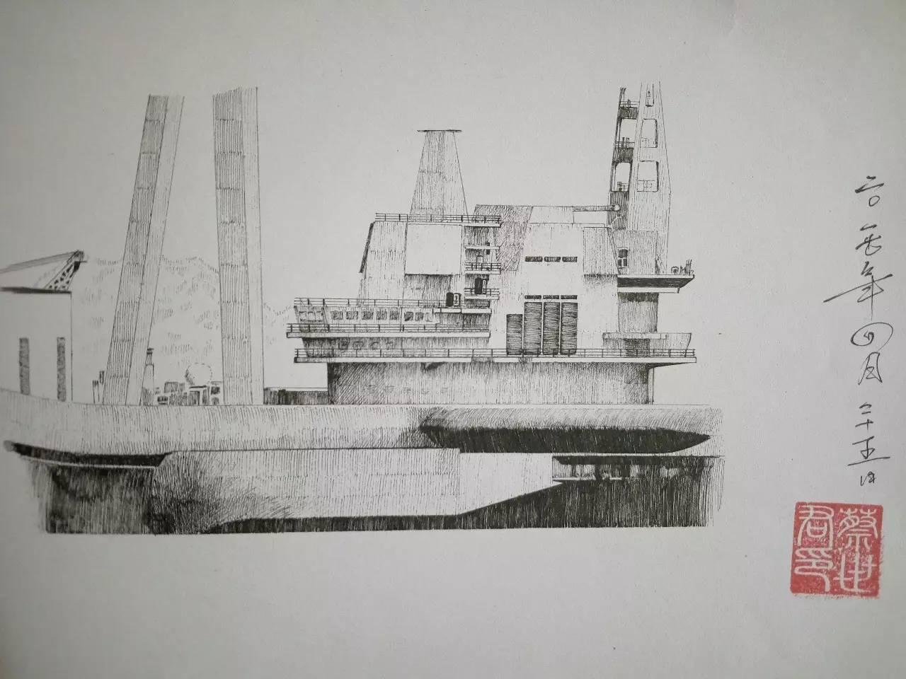 航母下水图片手绘