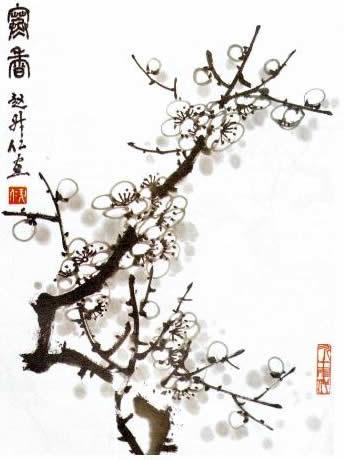 图文详解中国画水墨画写意梅花画法作品展示