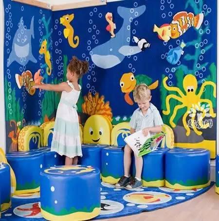 浅蓝色的背景,以及各种鱼儿,海龟,珊瑚,海藻等海洋生物,打造海底世界