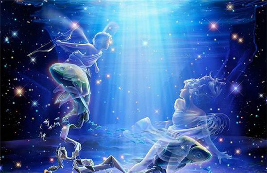 巨蟹男与双鱼女十二星座双鱼座矢量图图片