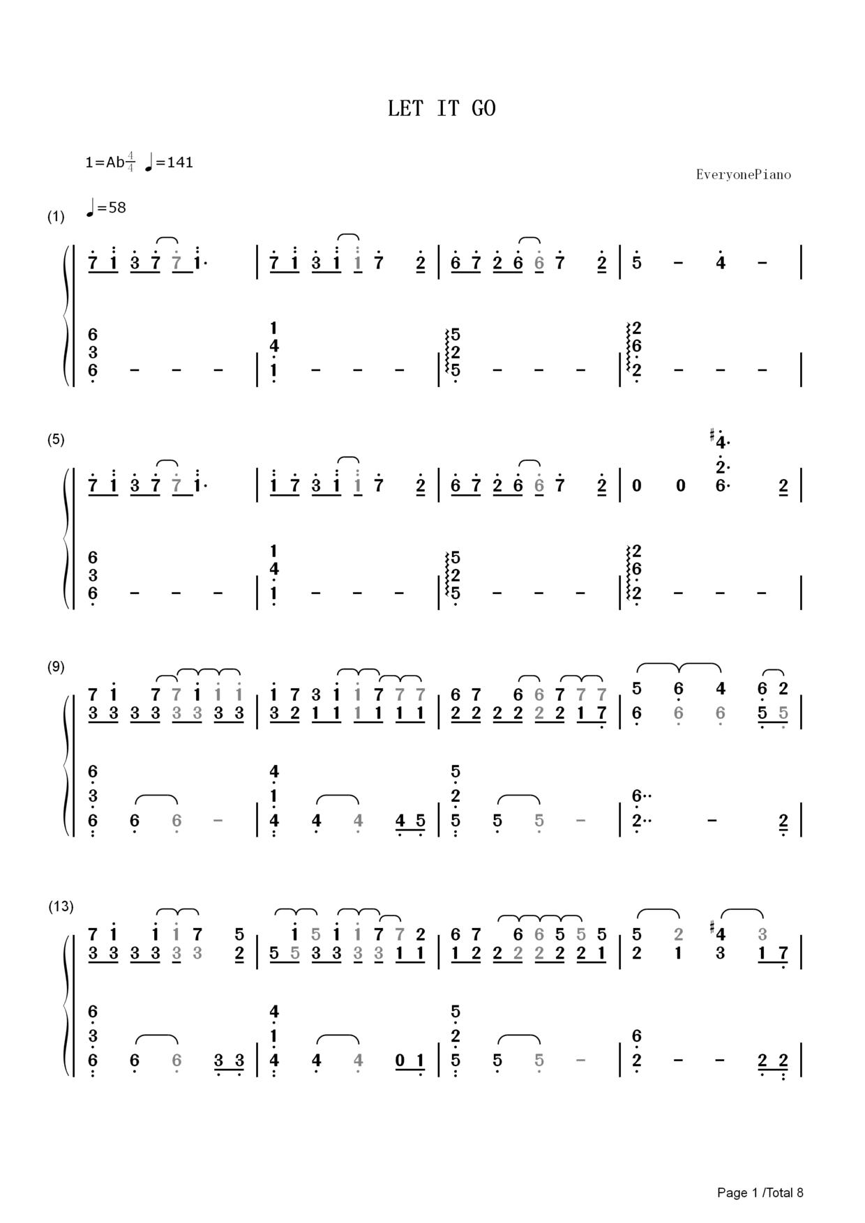 Let It Go完整版 冰雪奇缘主题曲钢琴谱