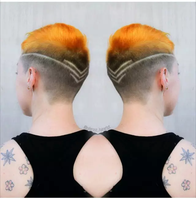 女生刻痕发型也很酷图片