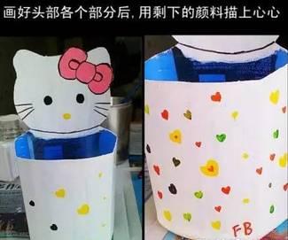 废旧塑料瓶手工制作-变废为宝,萌萌哒!