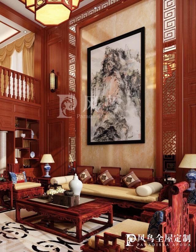 朱红色中式隔断,隔而不断,视觉通透,木饰面电视背景墙,自然雅致,这图片