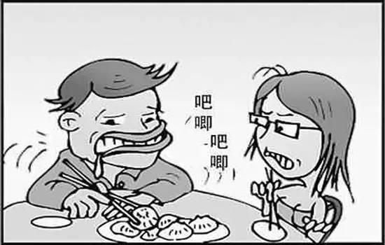 食堂吃饭简笔画-北京人的规矩 啪 大脖拐 我看谁再吧唧嘴