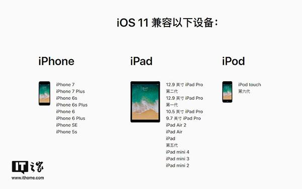 苹果iOS11可升级名单:iPhone5/5c/iPad4被抛弃
