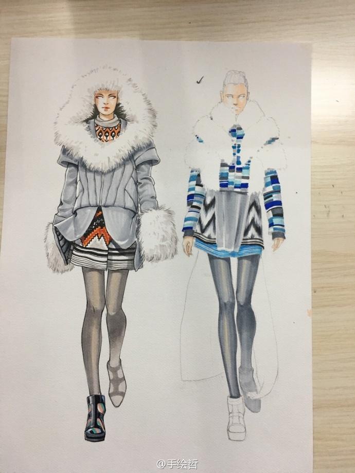 马克笔手绘冬季服装(服装画手绘技法)