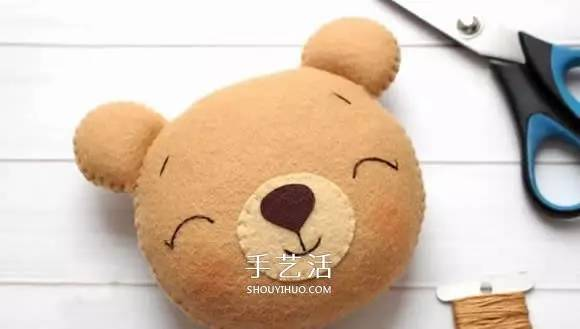 不织布小熊制作 超萌小熊布偶diy图解