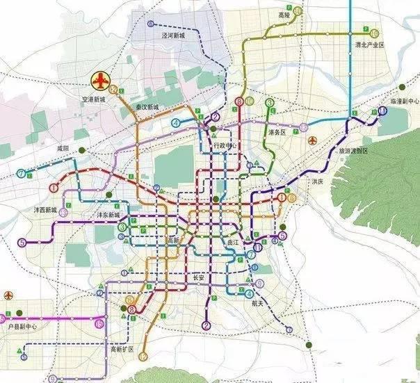 西安市地铁规划图