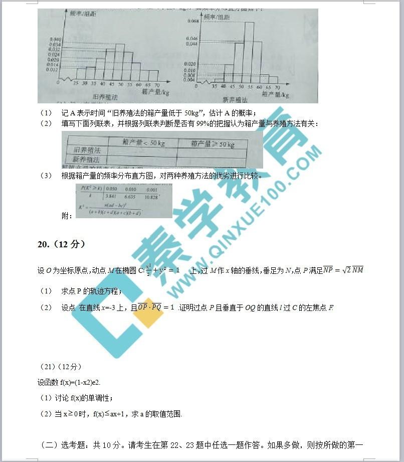 2017高考全国Ⅱ卷数学 文科 高考真题及答案