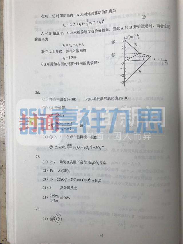 权威发布 2017年四川高考理综试题及答案出炉