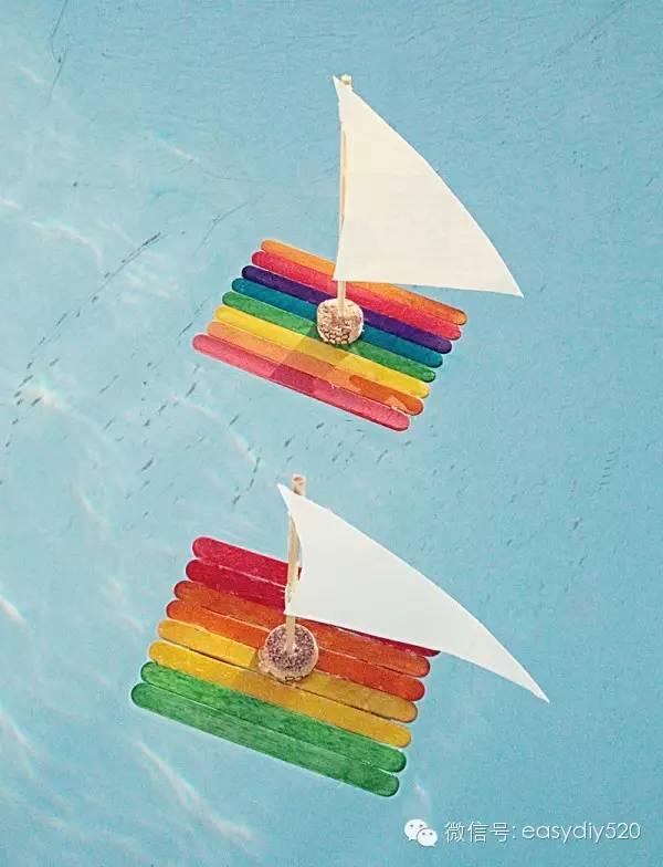 亲子手工 DIY冰棒棍帆船玩具手工制作教程