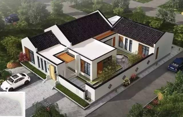 乡村自建15x19米新中式小院农村别墅图片