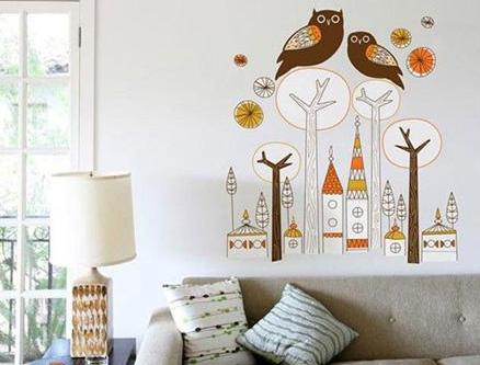 卡通手绘背景墙,让家中充满童趣.