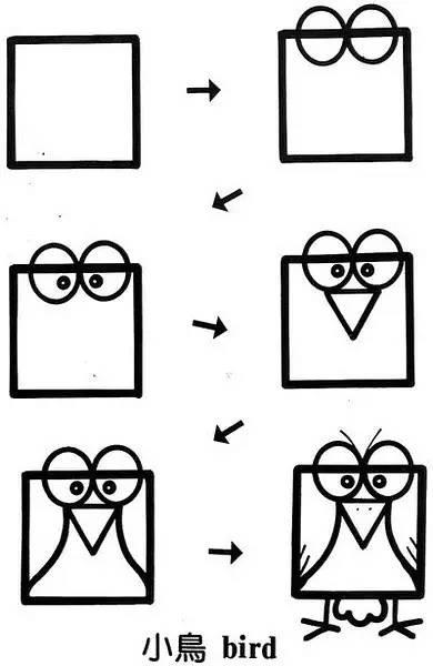 儿童简笔画 厉害啦 一个正方形可变成近50种图案