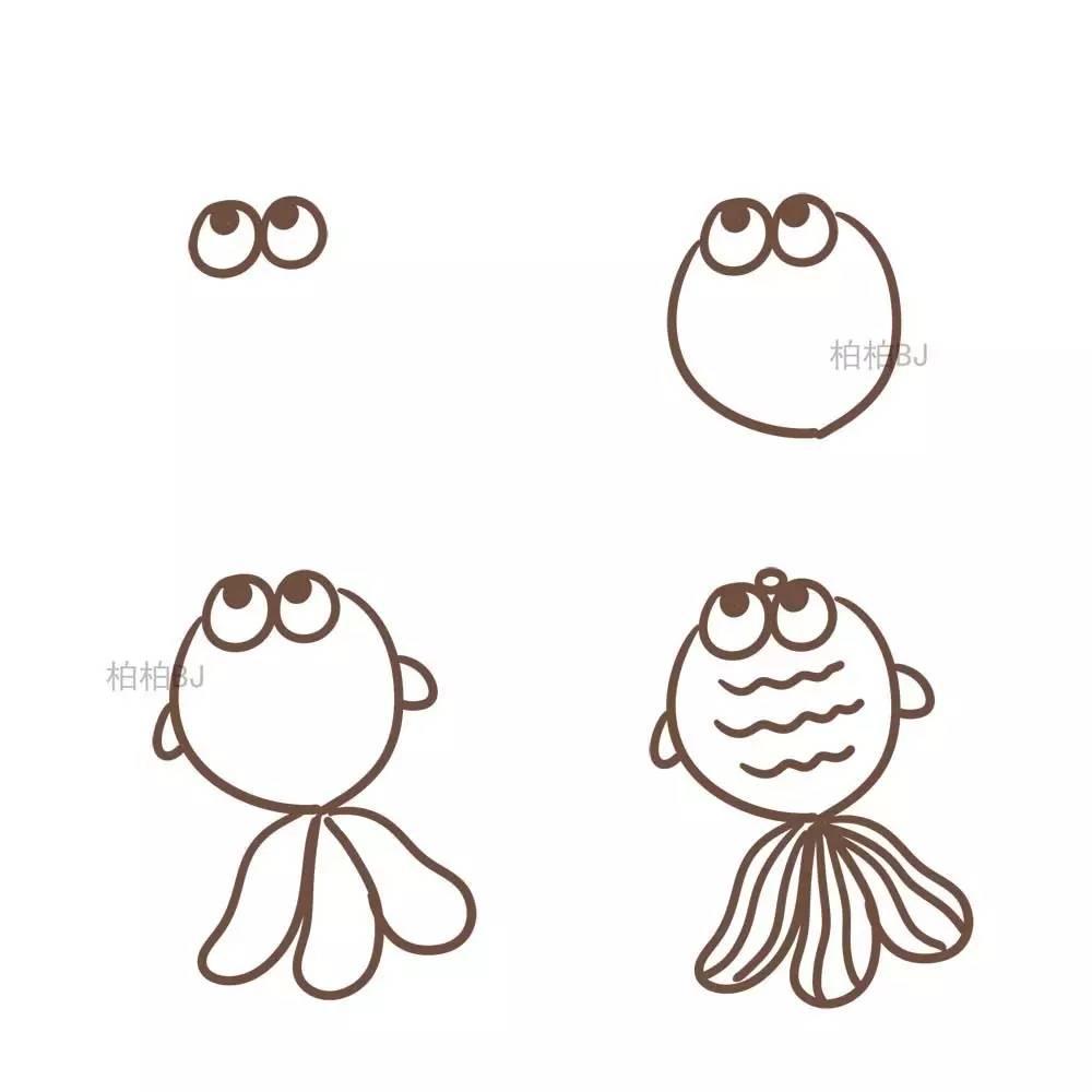 各种各样的小鱼画法简笔画 海洋动物 千千简笔画
