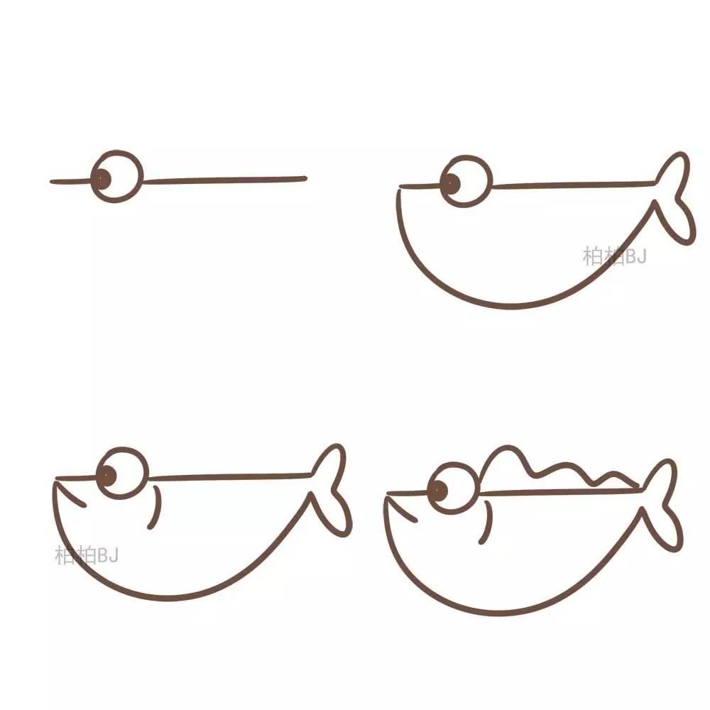 每天学一幅简笔画 各种小鱼简笔画画法集合