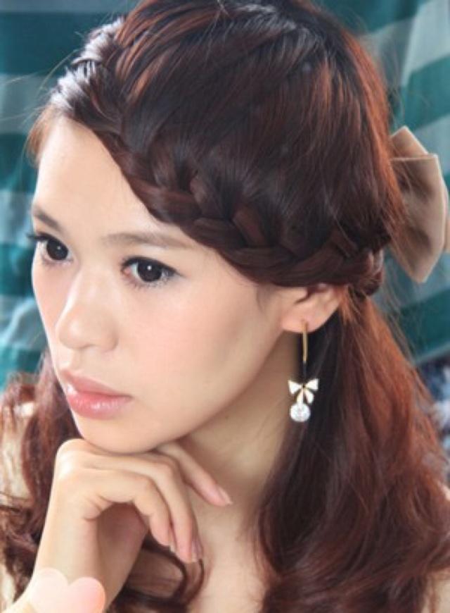 2,刘海编发发型图片
