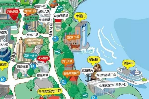旅游 正文  威海城区旅游手绘地图为免费发放,市民及游客可到威海旅游