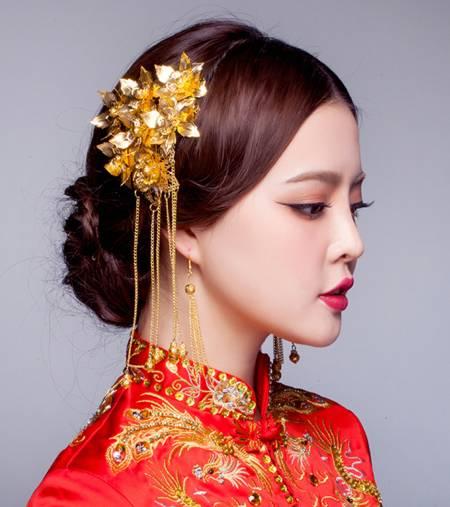 中式婚纱照新娘复古发型七图片