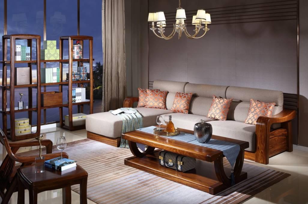 沙发造型,匠心独造,勾勒出现代中式风韵,精益求精,彰显尊贵气派.