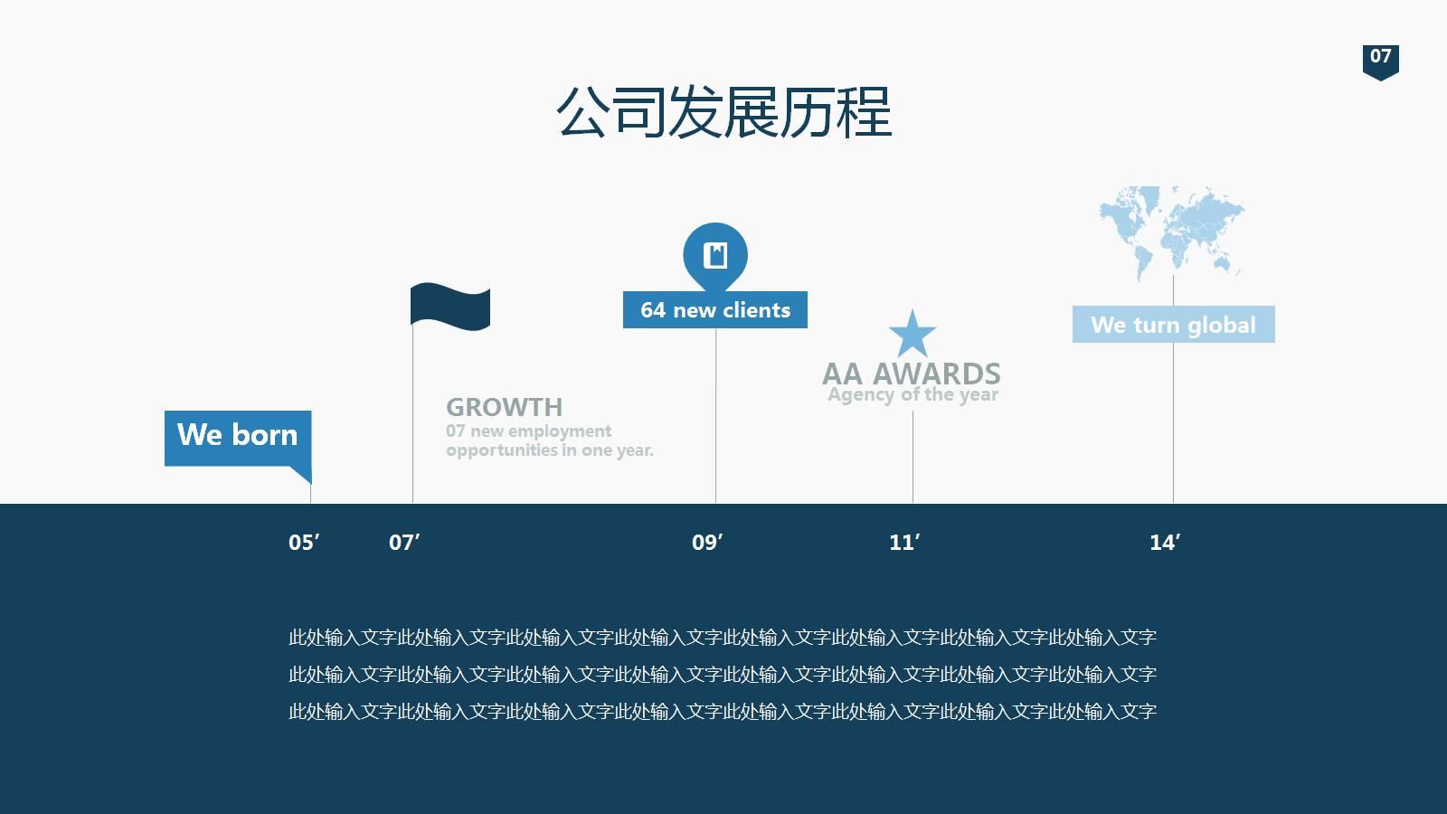 商务PPT模板下载:时间线(Timeline)公司历史里程碑