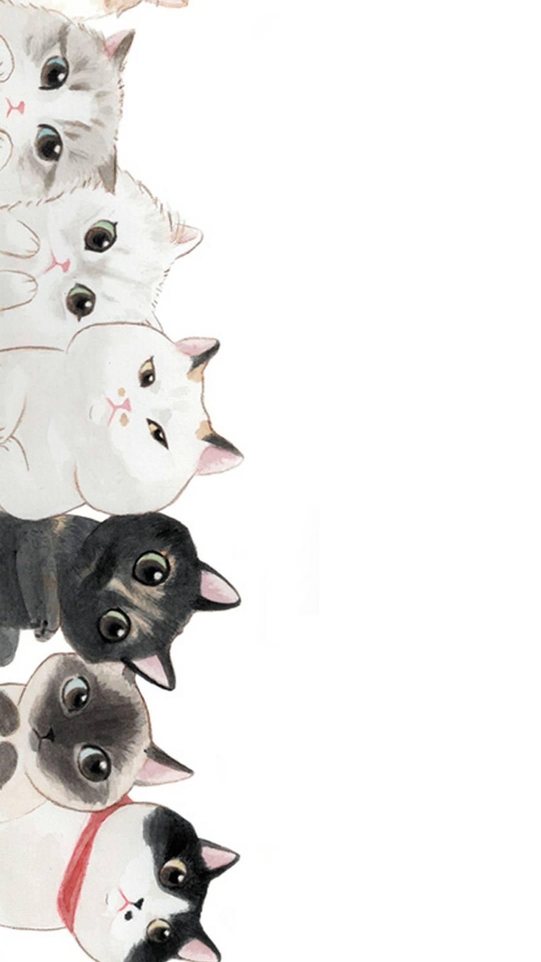 可爱手绘猫咪插画 | 手机壁纸