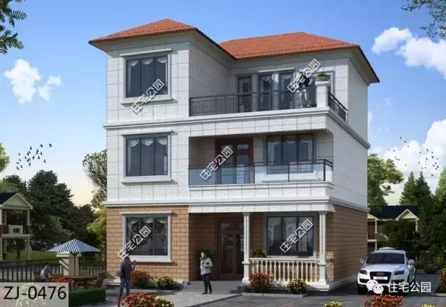 农村自建3层小户型别墅,双露台坡屋顶,造价35万