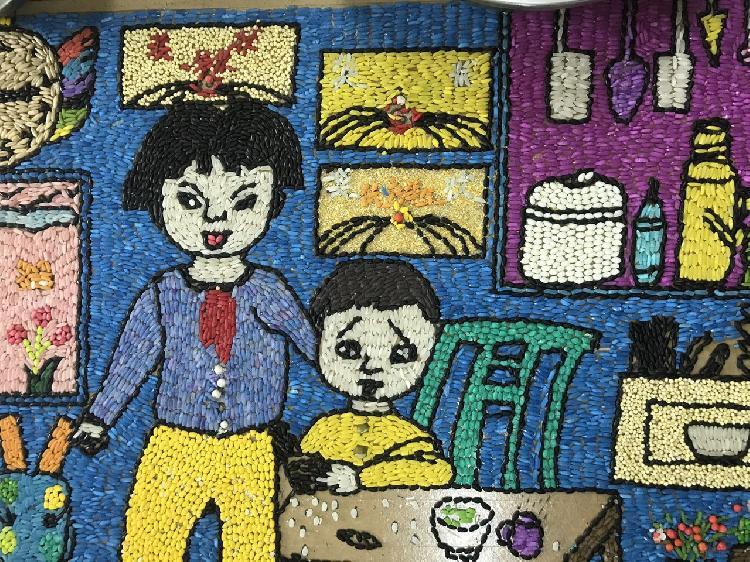 五谷贴画你见过吗 这群小学生将五谷杂粮变成了艺术品 组图