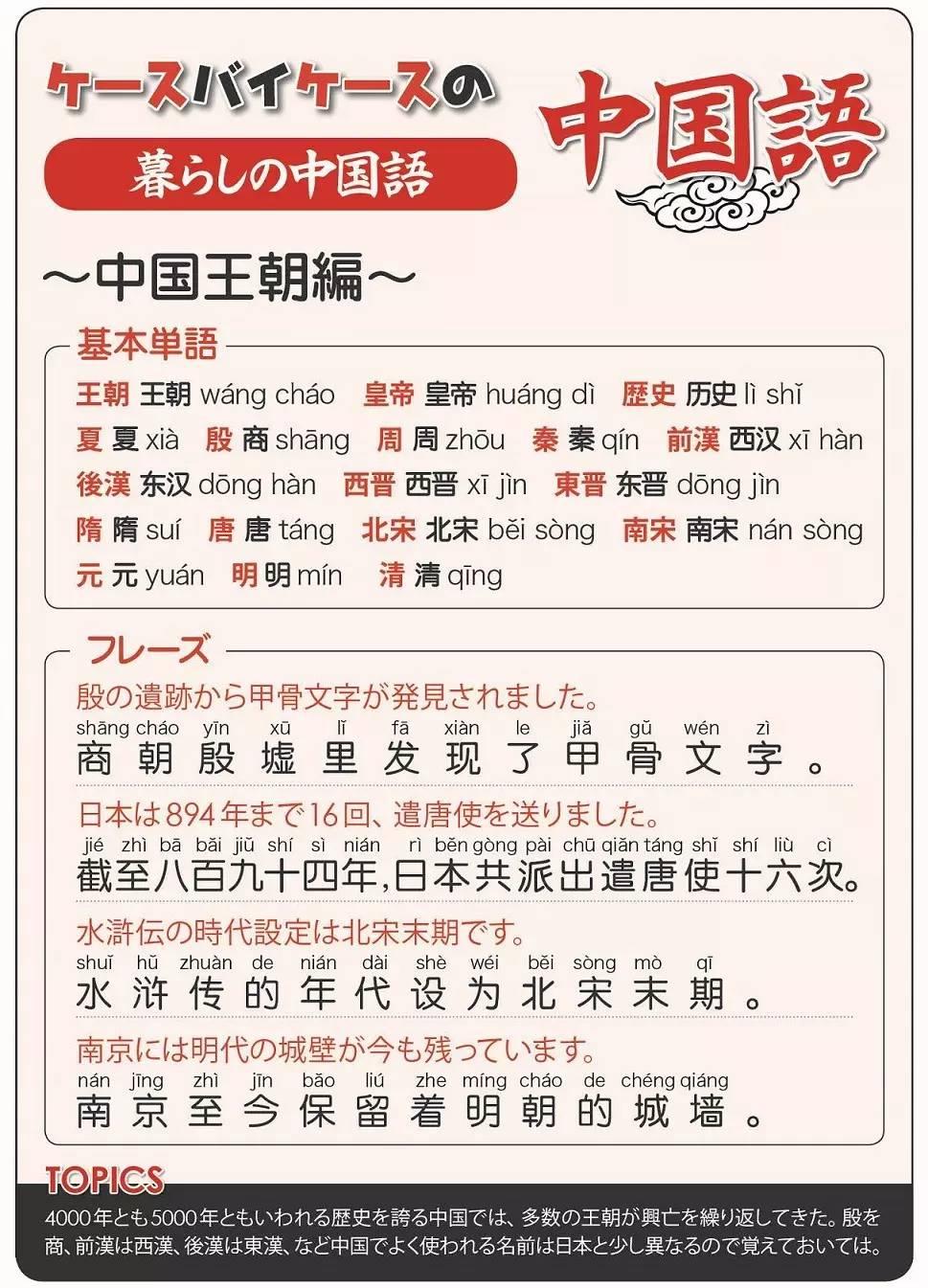 【ケースバイケースの中国語】中国王朝編
