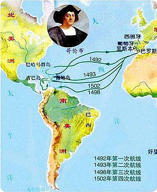 哥伦布航行的目的地是中国,不是美洲,他迷路了